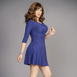 Feminine Swing Dress Blue