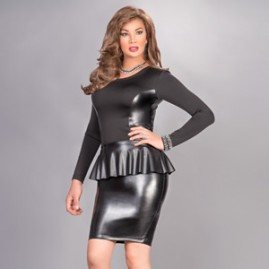 Leather Peplum Dress